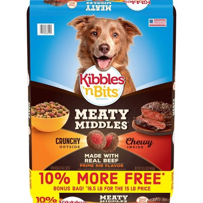 Kibbles 'n Bits Meaty Middles Prime Rib Flavor Adult Complete & Balanced Dry Dog Food - 16.5lbs