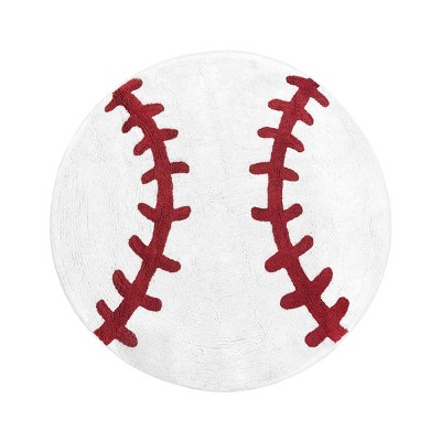 "30"" Round Baseball Floor Rug Red/White - Sweet Jojo Designs"