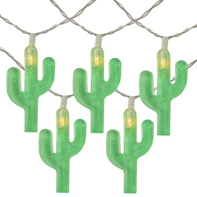 Northlight 10ct Battery Operated Cactus Summer LED String Lights Warm White - 4.5' Clear Wire