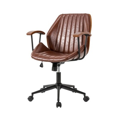 """36"""" Leatherette Height Adjustable Swivel Desk Chair - Glitzhome"""