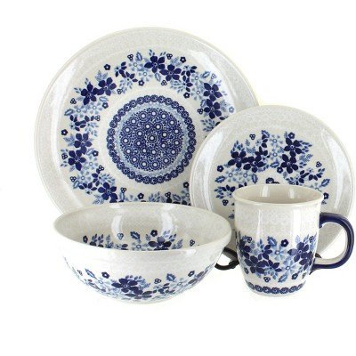 Blue Rose Polish Pottery Elizabeth 16 Piece Dinnerware Set