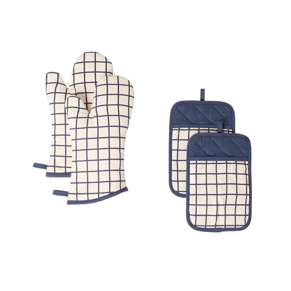 Image of 4pc Cotton Bistro Grid Oven Mitt and Pot Holder Blue - Town & Country Living