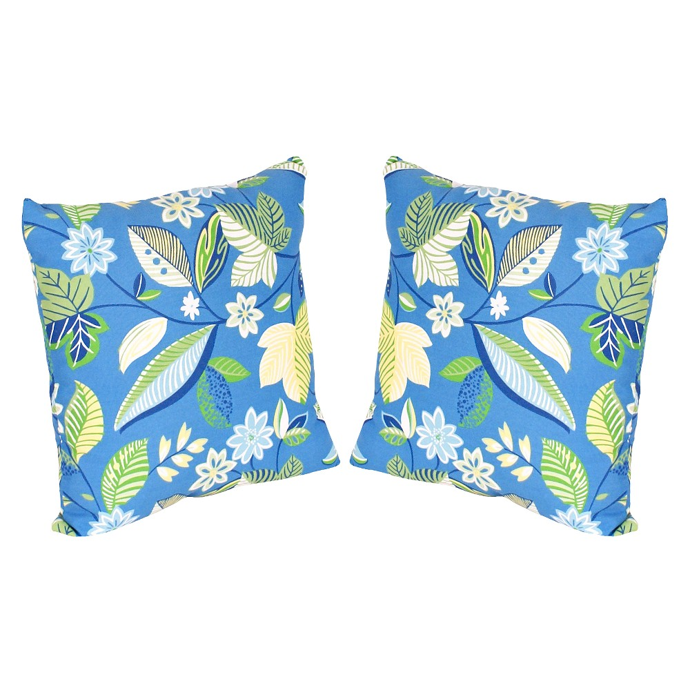 Image of 2-Piece Outdoor Toss Pillow Set - Blue/Green Floral 16