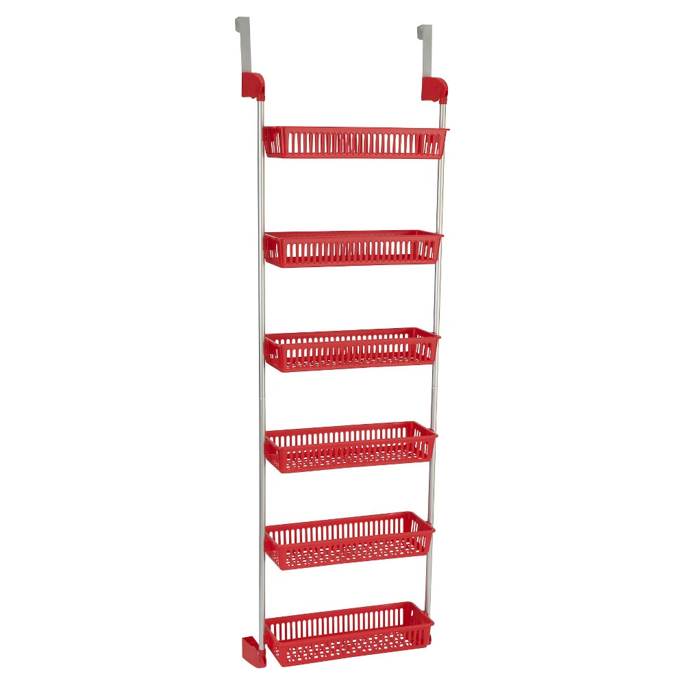 Image of Household Essentials - 6-Basket Over-the-Door Organizer - Red