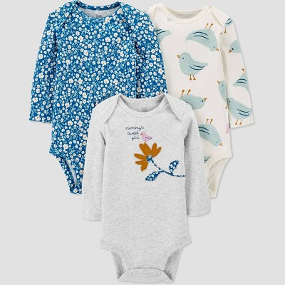 Baby Girls' 3pk Floral Bodysuit - Just One You® made by carter's Green/Off-White/Gray Newborn