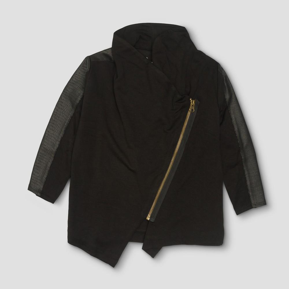 Toddler Girls' Afton Street Fleece Moto Full Zip Sweatshirt - Black - 12 Months, Size: 12M
