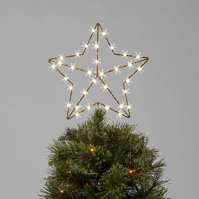 11.75in LED Lit Star with Bulb Bursts Tree Topper Gold - Wondershop™