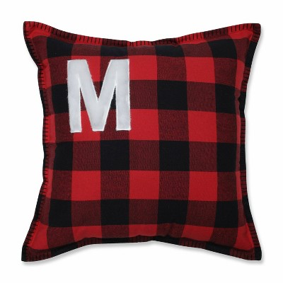 Buffalo Plaid 'M' Throw Pillow Red/Black - Pillow Perfect