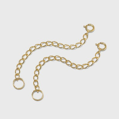 """Women's Chain Extender Sterling Silver 2 pc- Gold toned (2.5"""")"""