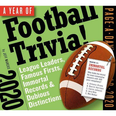 Football Calendar 2020 A Year Of Football Trivia! Page A Day Calendar 2020   By Jeff
