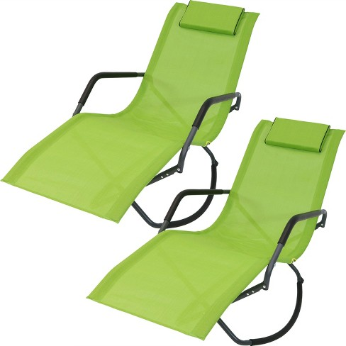 Astonishing Set Of 2 Rocking Chaise Lounge Chairs With Headrest Pillow Green Sunnydaze Decor Forskolin Free Trial Chair Design Images Forskolin Free Trialorg