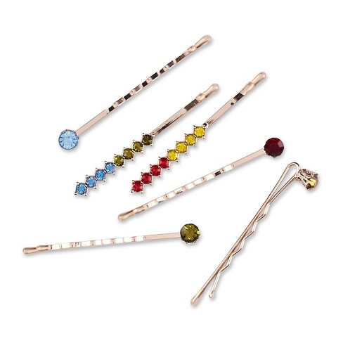Sincerely Jules by Scunci Bobby Pins with Rainbow Stones - 6ct - image 1 of 3