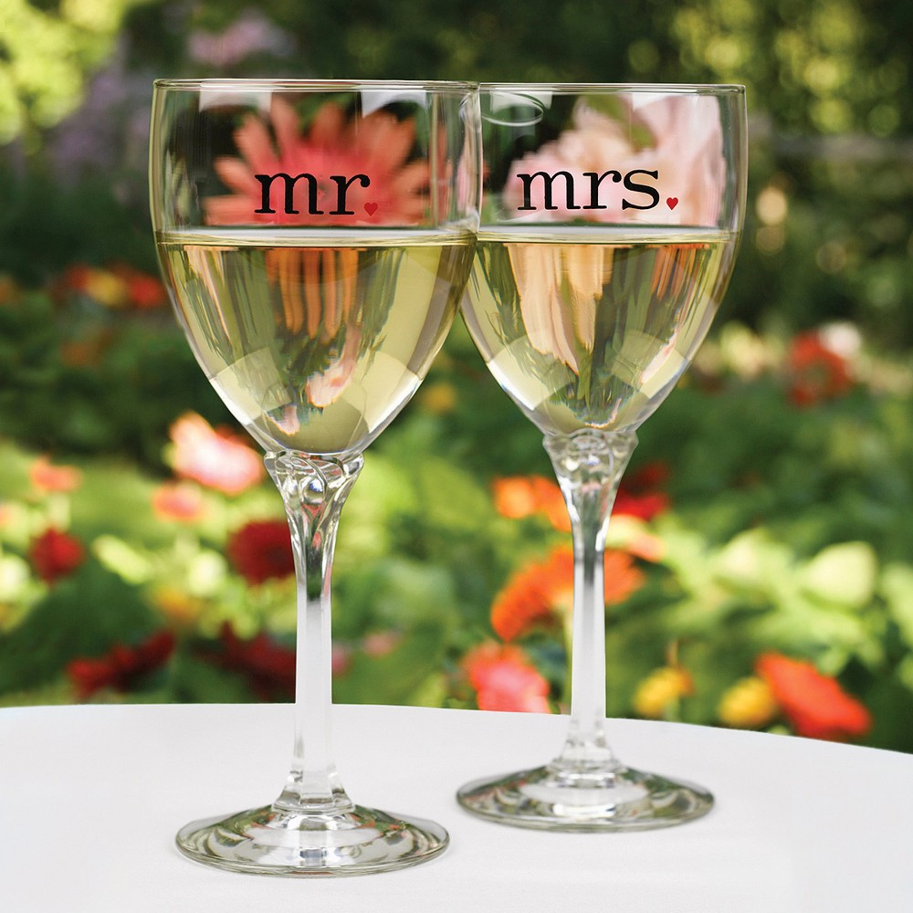 Mr and Mrs Wine Glasses - Clear