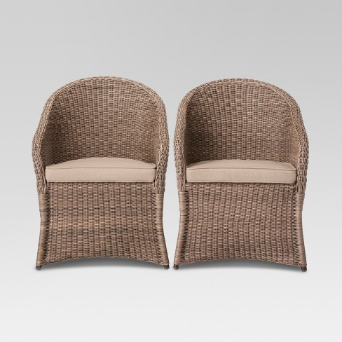 Holden 2pc Wicker Patio Dining Chair Set Tan - Threshold™ - image 1 of 6