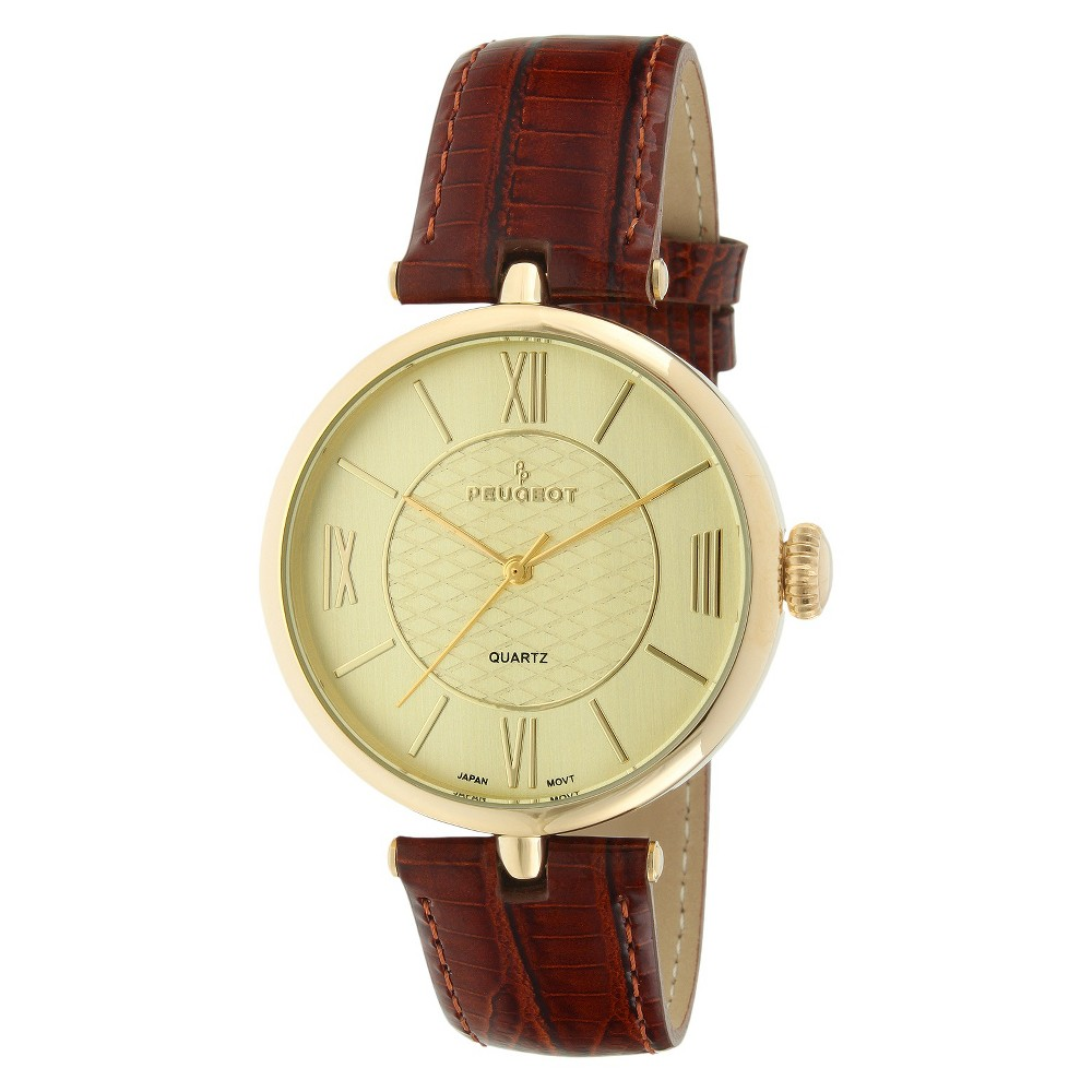Peugeot Large Dial Leather Strap Watch - Gold & Brown, Women's