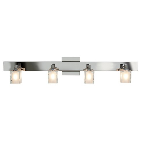 Glass 4-Light Bath with Rectangular Frosted/Clear Glass Shade - Chrome - image 1 of 1