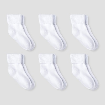 Baby Girls' Athletic Bobby Socks 6pk - Cat & Jack™ White 6-12M