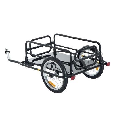 Aosom Foldable Bike Cargo Trailer Bicycle Cart Wagon Trailer w/ Hitch 16'' Wheels 110 lbs Max Load - Black
