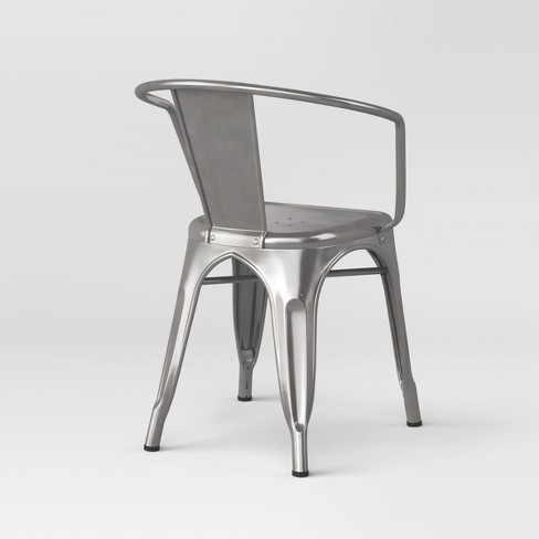 2d63761a7dd1 Carlisle Fully Assembled Metal Dining Chair Natural Silver ...