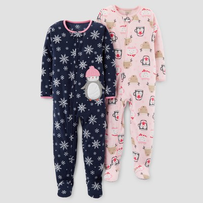 Baby Girls' 2pk Fleece Snowflakes & Penguin Footed Pajama Set - Just One You™ Made by Carter's® Blue 9M