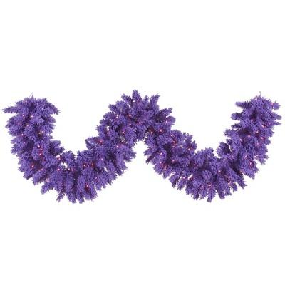 Vickerman Flocked Purple Artificial Christmas Garland