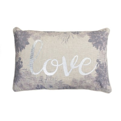 Lynette Love Lumbar Throw Pillow White/Purple - Décor Therapy