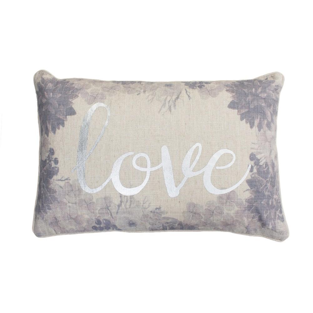 Lynette Love Lumbar Throw Pillow White/Purple - Décor Therapy