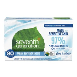 Seventh Generation Free & Clear Fabric Softener Sheets - 80ct
