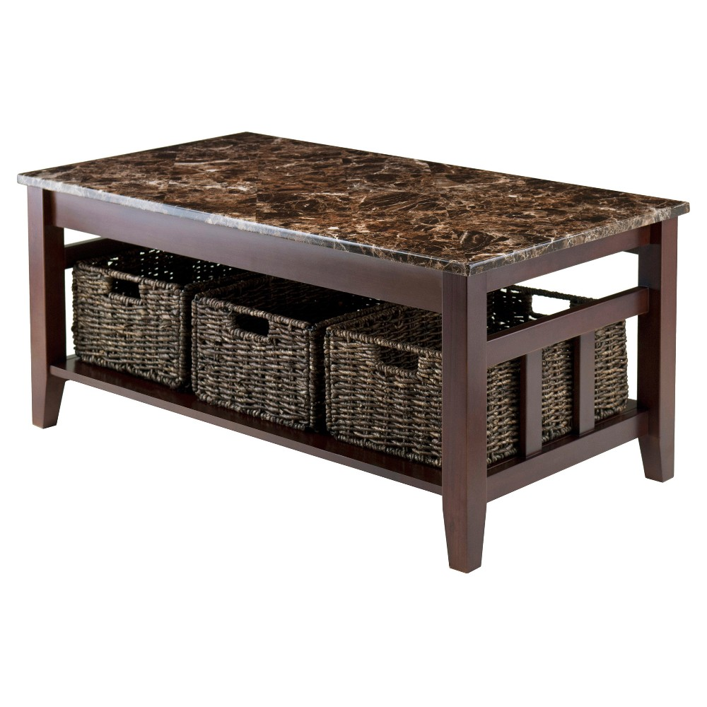 Zoey Coffee Table Faux Marble Top with Baskets - Walnut (Brown), Chocolate - Winsome