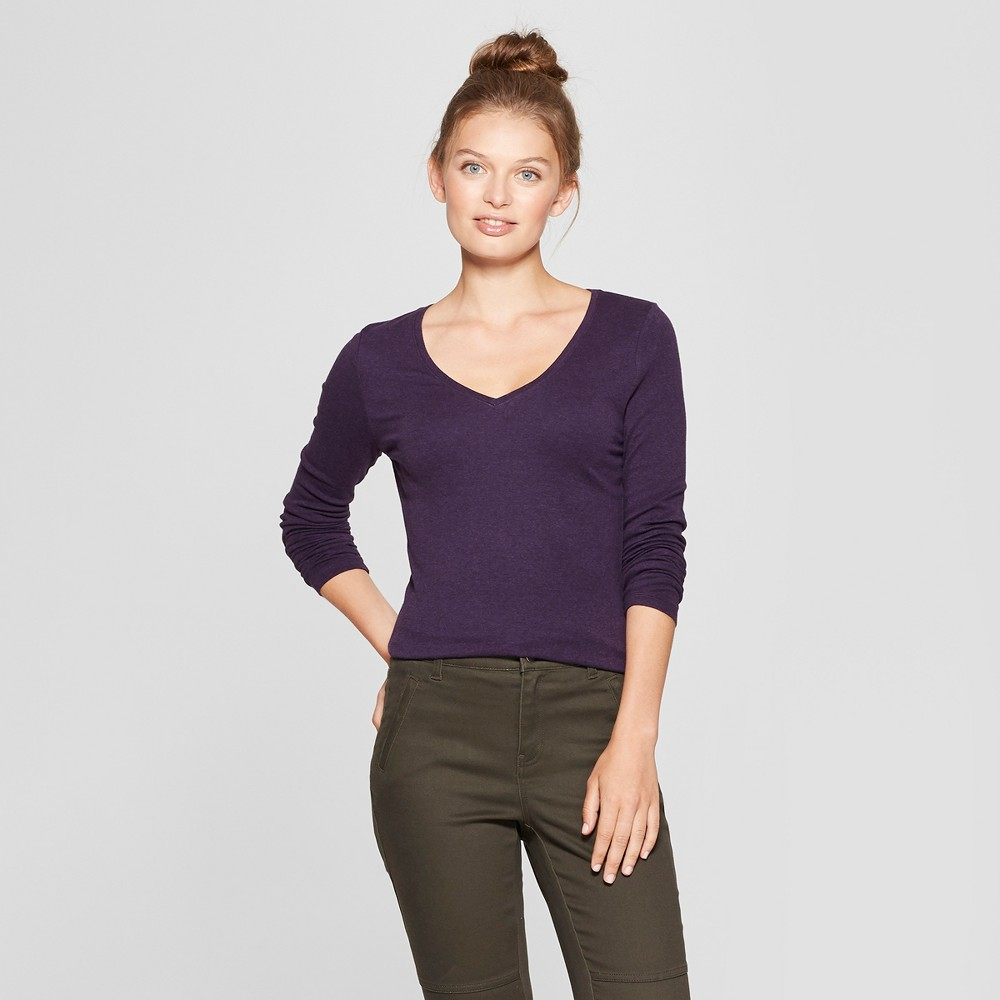 Women's Long Sleeve V-Neck T-Shirt - A New Day Purple Heather M