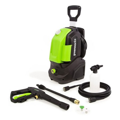 GreenWorks GPW1604 1600 PSI 1.2 GPM 13 Amp 120 V Electric Corded Power Vertical Pressure Washer with Hose Reel, Green