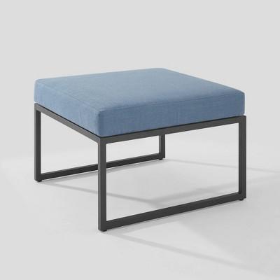 Outdoor Modern Modular Patio Ottoman with Cushion Blue - Saracina Home