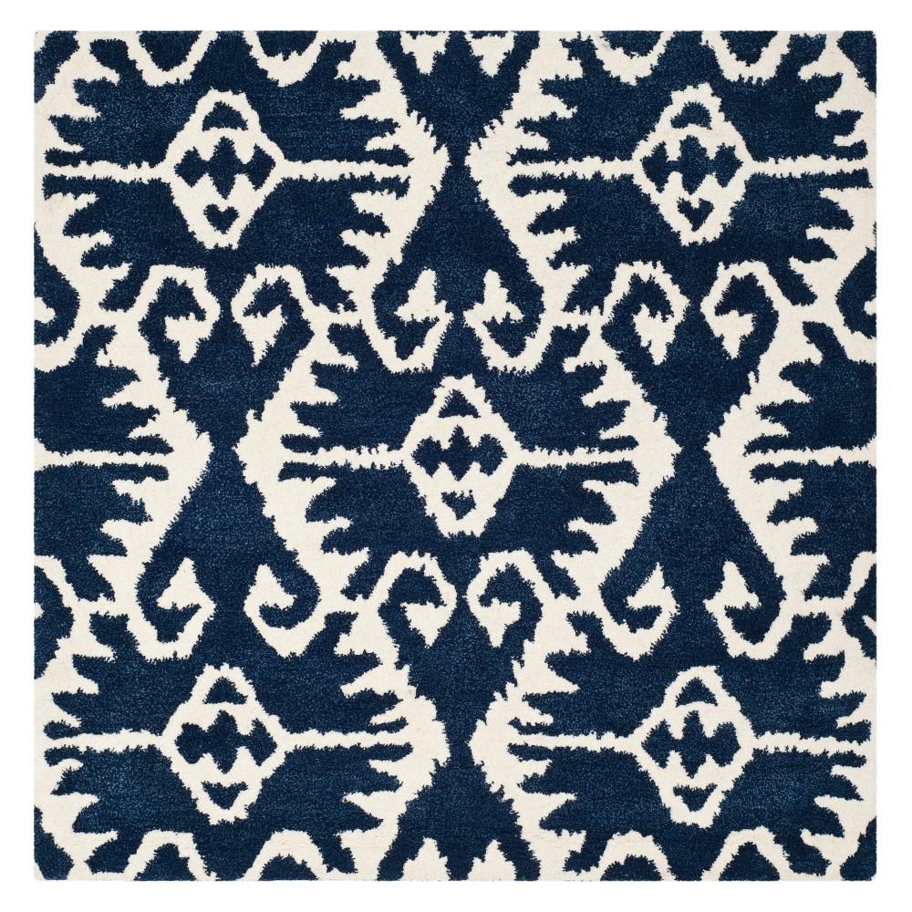 7'X7' Tribal Design Tufted Square Area Rug Royal Blue/Ivory - Safavieh