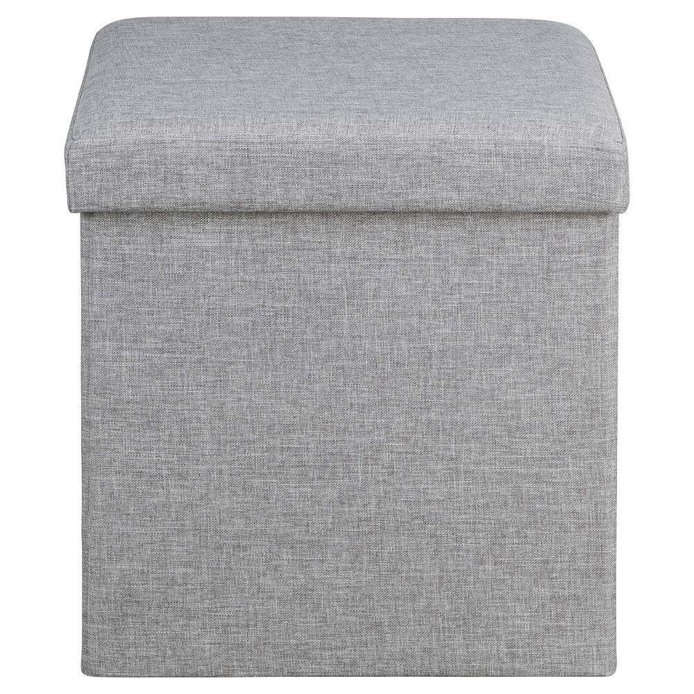 Soft Modern Upholstered Storage Ottoman - Light Gray