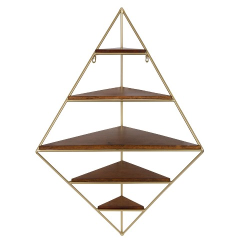 """36"""" x 22"""" Melora Metal and Wood Five-Tier Corner Wall Shelf Brown/Gold - Kate & Laurel All Things Decor - image 1 of 4"""