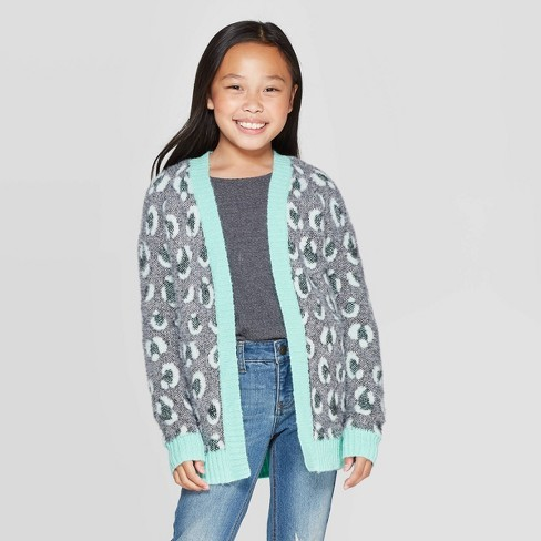 Girls' Long Sleeve Animal Print Open Layering Sweater - Cat & Jack™ Green - image 1 of 3
