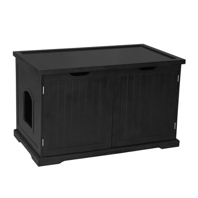 Merry Products Decorative Bench with Enclosed Cat Litter Washroom Box, Black