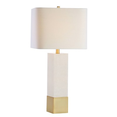 "29"" Metal/Marble Jeffrey Table Lamp (Includes LED Light Bulb) Gold - JONATHAN Y"