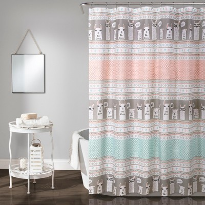 "72""x72"" Llama Striped Shower Curtain - Lush Décor"