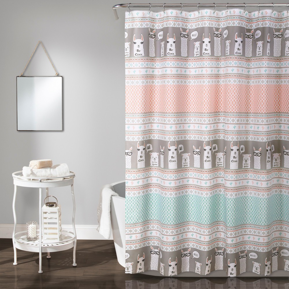 "Image of ""72""""x72"""" Llama Stripe Shower Curtain Pink - Lush Decor"""