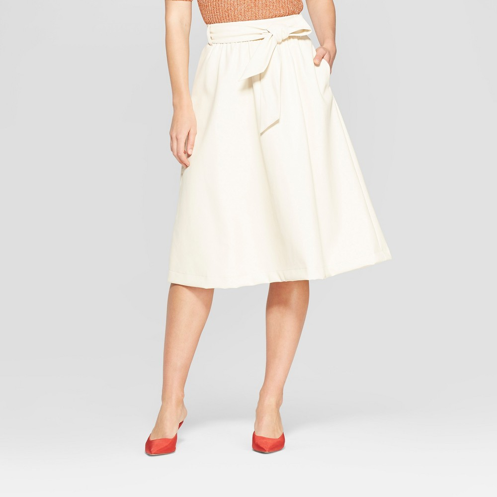 Women's Belted Leather Skirt - Who What Wear Cream (Ivory) 14