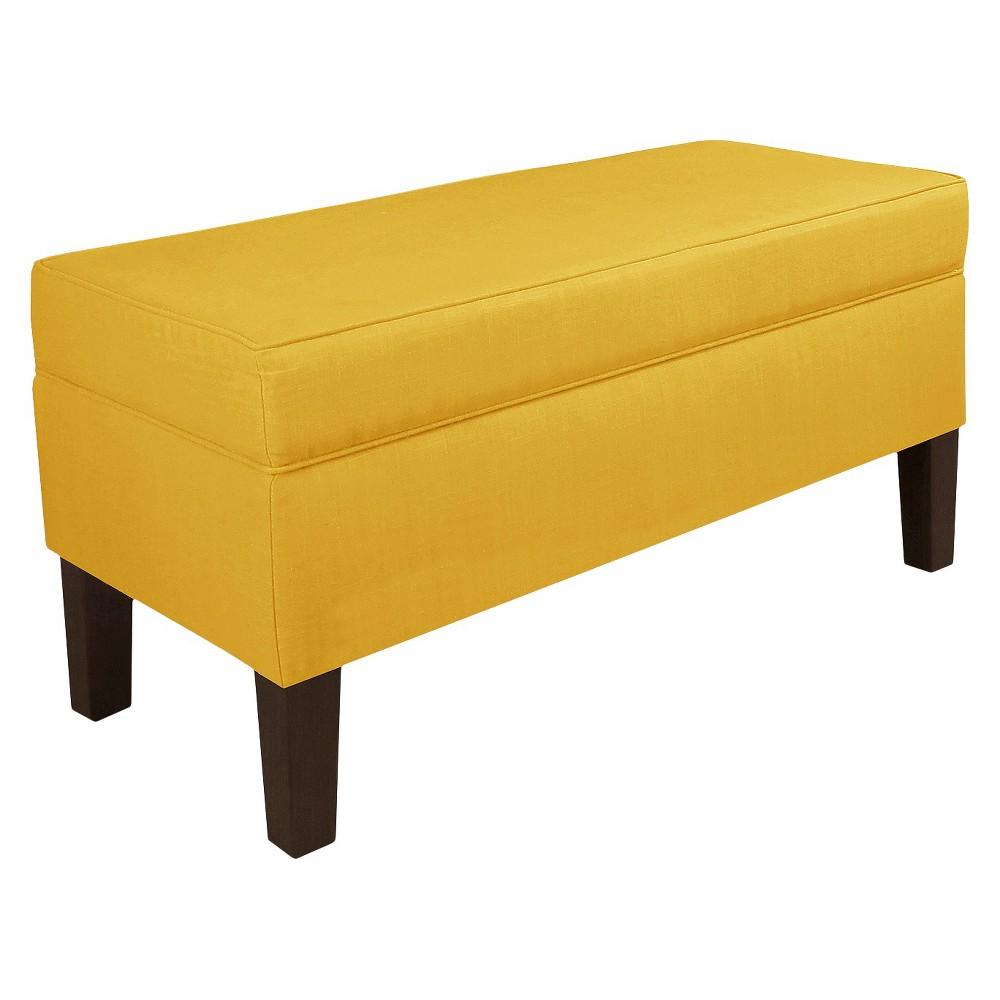 Skyline Custom Upholstered Contemporary Bench - Skyline Furniture, Linen French Yellow