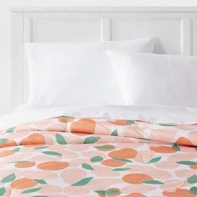 Reversible Microfiber Light Orange Fruit Print Comforter - Room Essentials™