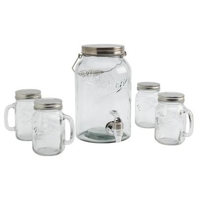 5pc Glass Beverage Dispenser and Drinkware Set - Mason Craft & More