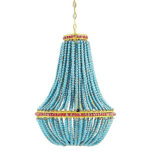 Wood Beaded Chandelier - Blue - image 1 of 3