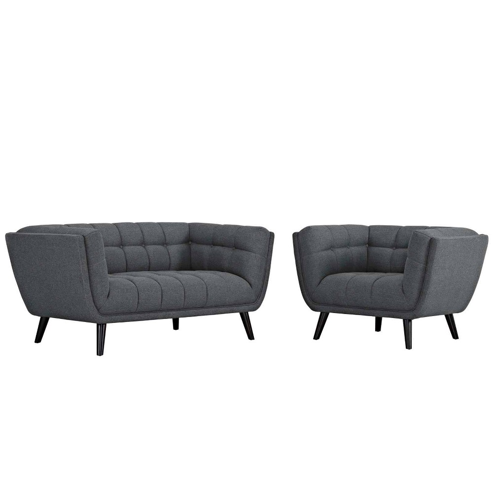 Image of 2pc Bestow Upholstered Fabric Loveseat and Armchair Set Gray - Modway