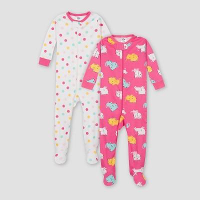 Gerber Baby Girls' 2pk Cat Footed Pajama - Beige/Pink 3M