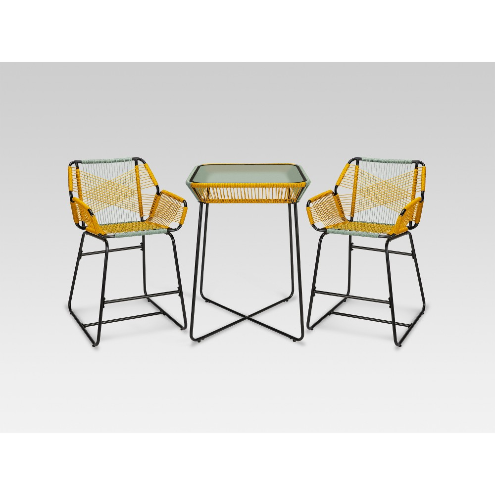 Carag 3pc Balcony Height Patio Bistro Set Blue/Yellow - Project 62