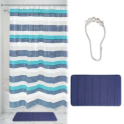 Zoey Striped Shower Curtain with Memory Foam Mat and Ring Bundle Blue/White - iDESIGN