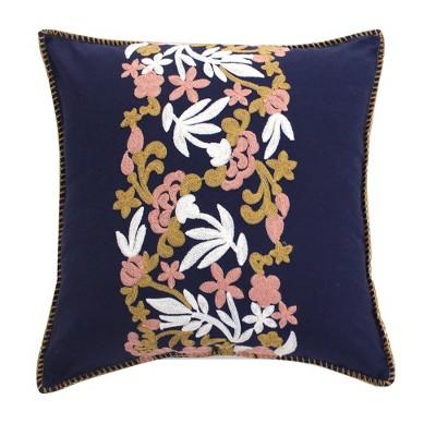 Madera Velvet Navy Crewel Decorative Pillow - Levtex Home